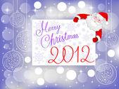 Feliz natal 2012 cartão-postal com o bondoso papai noel — Vetorial Stock
