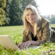 Young woman with laptop on a meadow — Stock Photo