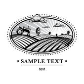 Agriculture landscape engraving — Stock Vector