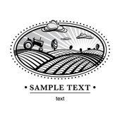 農業風景彫刻 — ストックベクタ