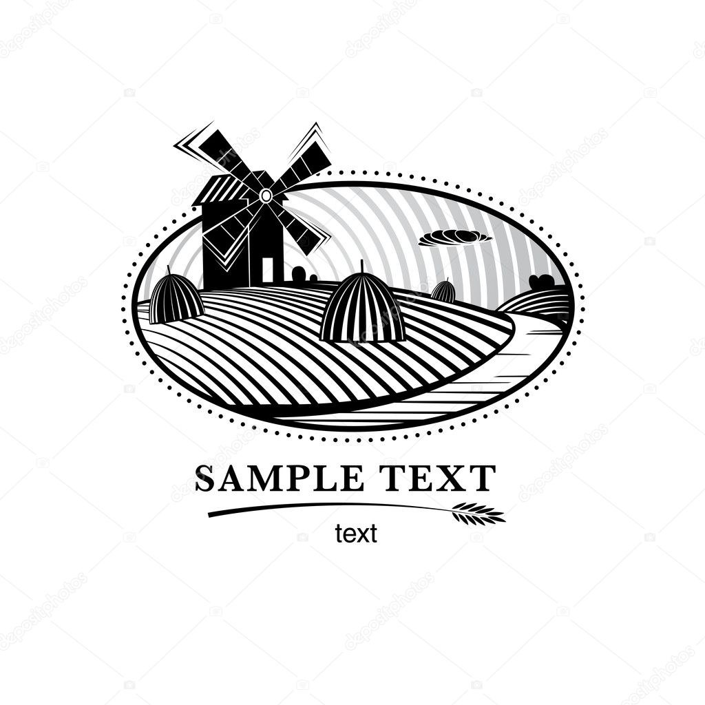 Agriculture landscape with mill, engraving  style illustration — Stock Vector #7109410