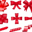 Red bows set — Stock Vector
