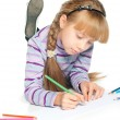Girl drawing — Foto Stock