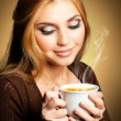 Woman with cup of Coffee — Stockfoto