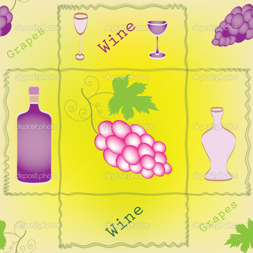 Seamless pattern with grapes, bottles,goblets and decorative frame — Stock Vector #6795876