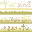 Set of autumnal floral and grass design elements — Stock Vector