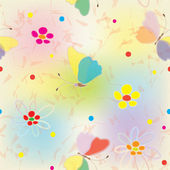 Rainbow seamless pattern with butterflies, flowers and blots — Stock Vector