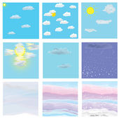 Cloudy sky icons set — Stock Vector