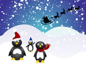 Penguin christmas — Vecteur