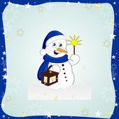Divertido muñeco de nieve — Vector de stock
