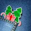 Denim xmas background. — Stockvectorbeeld