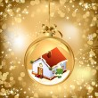 Stock Vector: Gold of empty snowglobe with New Year's house
