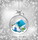 Silver of empty snowglobe with New Year's house — Stock Vector