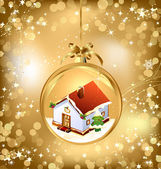 Gold of empty snowglobe with New Year's house — Stock Vector