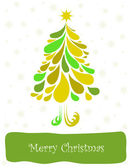 Abstract green christmas tree. Vector card — Stock Vector
