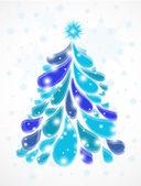 Abstract blue christmas tree. Vector — Stock Vector
