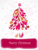 Abstract pink christmas tree. Vector — Stock Vector