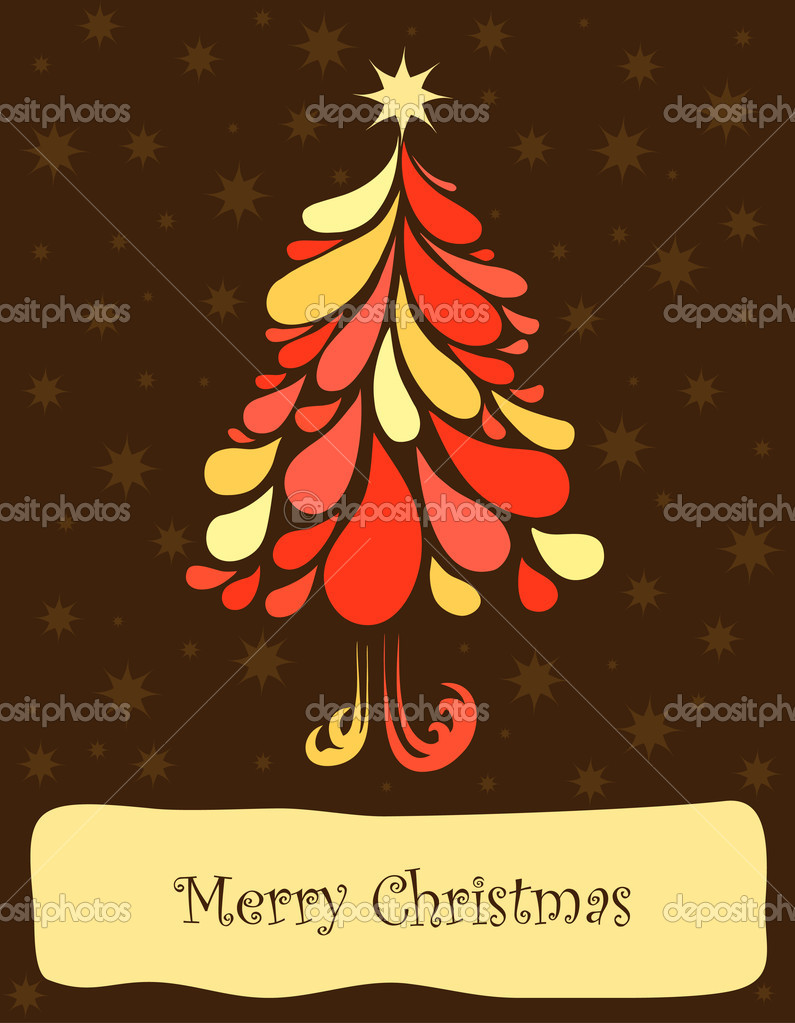 Abstract christmas tree. Vector art illustration background — Stock Vector #7064482
