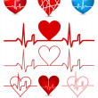 Stock Vector: Set hearts beats graph. Vector