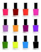 Bottles of nail polish in various shades. Vector set — Stock Vector