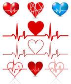Set hearts beats graph. Vector — Stock Vector