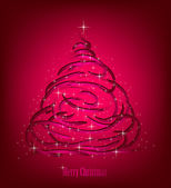 Abstract Christmas red Tree. Vector — Stock Vector