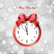 Red bow on clock. Vector christmas card — Stock Vector