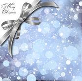 Srebrny łuk na magicznym kartki świąteczne. wektor — Wektor stockowy