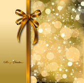 Gold bow on a magical Christmas card. Vector — Vetor de Stock