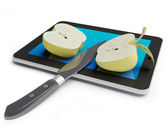 Apple & tablet pc — Fotografia Stock