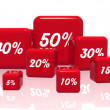 Stock Photo: Different percentages in red