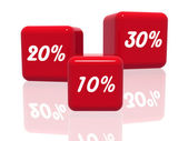 Ten, twenty and thirty percentages in red — Stock Photo
