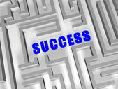 Blue success in labyrinth — Stock Photo