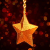 3d golden star with chains — Stock Photo