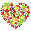 Heart From Vegetables And Fruit — Stock Vector #6771224