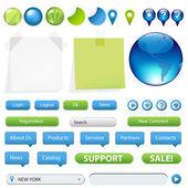 Kolekce prvků webové stránky a gps navigace — Stock vektor