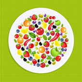 White Plate With Fruit And Vegetables — Stock Vector