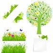 Green Grass With Flowers And Tree — Stock Vector