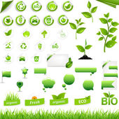 Collection Of Eco Elements — Stock Vector