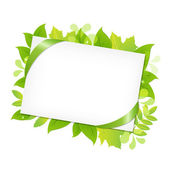 Green Leafs And Blank Gift Tag — Stock Vector