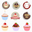 Cupcake And Labels Set - Stock Vector