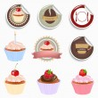 Stock Vector: Cupcake And Labels Set