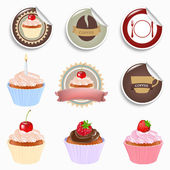 Cupcake And Labels Set — Stock Vector