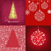 Conjunto abstracto tarjetas de Navidad — Vector de stock