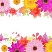 Sfondo con gerber di fiori e foglie — Vettoriale Stock