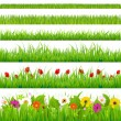 Big Grass And Flower Set — Stock Vector