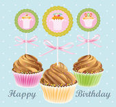 Congratulatory card with chocolate fruitcakes — Stock Vector