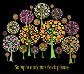 Beautiful autumn tree vector card — Stock Vector