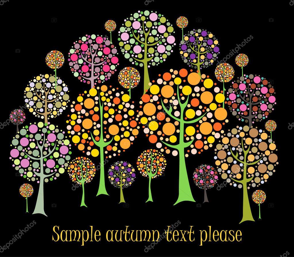 美丽的秋天树矢量卡– 图库插图