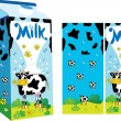 Vector package for milk with a gay cow - Stockvectorbeeld